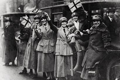 Members of the Women's Royal Australian Naval Service (WRANS) celebrate Armistice Day, 1918 in London