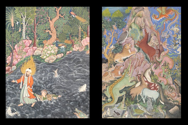 Right, a page from the Hamzanama, c.1558-73, depicting Elijah rescuing Amir Hamza's drowning grandson. Left, 'The Raven addresses an assembly of animals', c.1590.