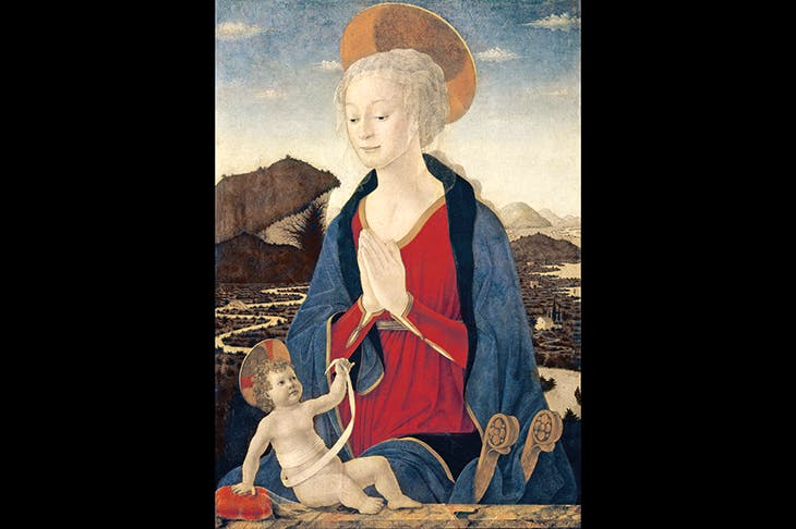 Alesso Baldovinetti's 'Madonna and Child' (c. 1464) is rich in symbolism. The infant Christ holds his swaddling band up to the Virgin's womb, as if it were a token of the umbilical cord that united them. The winding shape of the bandage is echoed in the distant meandering river. The Madonna's gossamer veil falls over her head as a pyx-cloth might cover a sacramental vessel.The child touches another translucent veil, draped over the cushion beside him. Towering above him, his Mother joins her hands in devotion, as if to acknowledge her Son's meaningful gestures