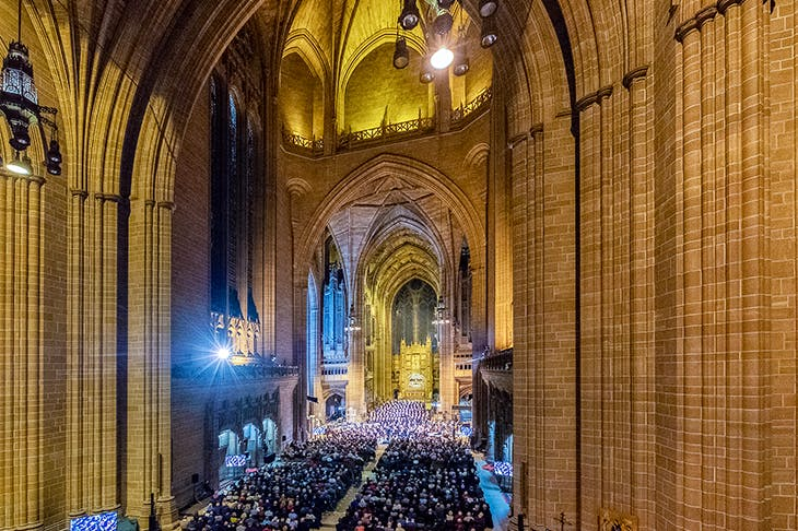 RLPO and the NDR Radiophilharmonie performing Britten's War Requiem in Liverpool Cathedral. Photo: Liverpool Philharmonic / Mark McNulty