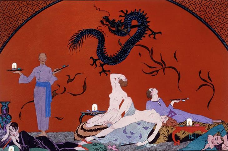 Georges Barbier's imaginative illustration of an opium den c. 1921