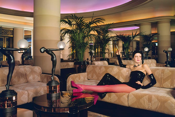 Twiggy photographed by Justin de Villeneuve in the Rainbow Room at Big Biba, early 1970s. [JUSTIN DE VILLENEUVE]