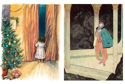 LEFT: Shirley Hughes is incapable of drawing a child who isn't lovable. From Snow in the Garden: A First Book of Christmas. RIGHT: Edmund Dulac's illustrations are as exquisite as a Persian miniature.From The Arabian Nights, translated by Laurence Housman