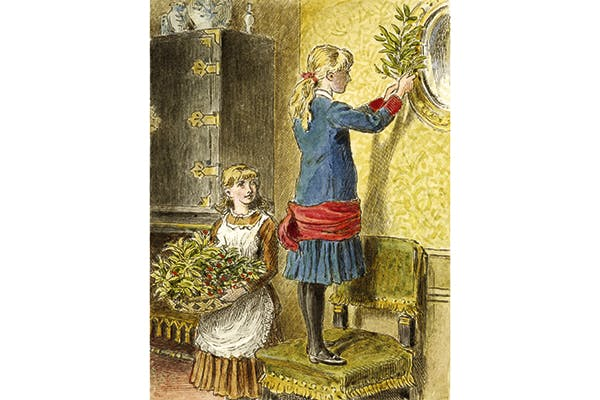 'Decorating for Christmas' by Alfred W. Cooper (1854)