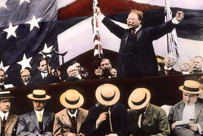 Theodore Roosevelt campaigning in the summer of 1912