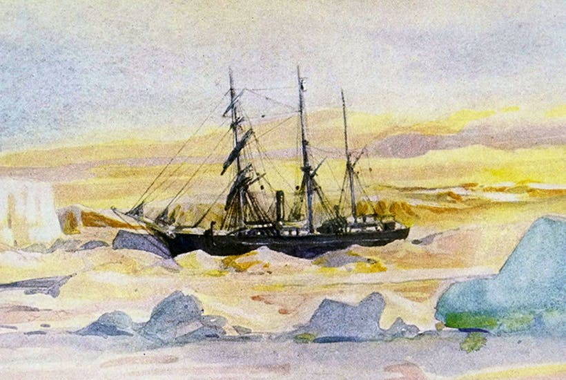 Shackleton's ship The Nimrod trapped in McMurdo Sound.