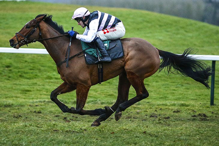 Tom Scudamore riding Know The Score wins the Visit Our Shop 'Star Sports Mayfair' Standard Open NH Flat Race at Towcester racecourse, 14 February, 2018