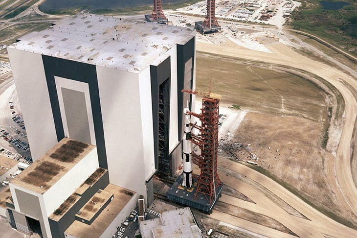 Apollo 8 on its launch pad in December 1968. Photo: AP / REX / Shutterstock
