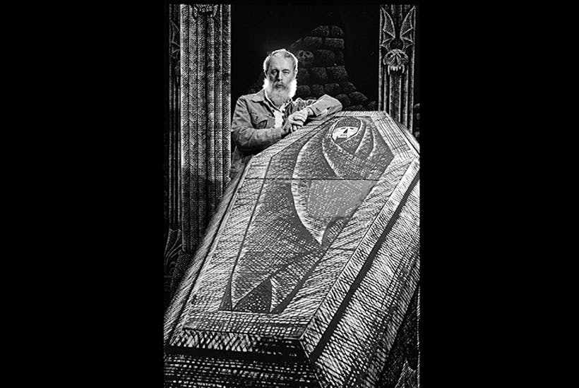 'There is so little heartless work around. So I feel I am filling a small but necessary gap.' Edward Gorey photographed in 1977 on the set he designed for the Broadway production of Dracula