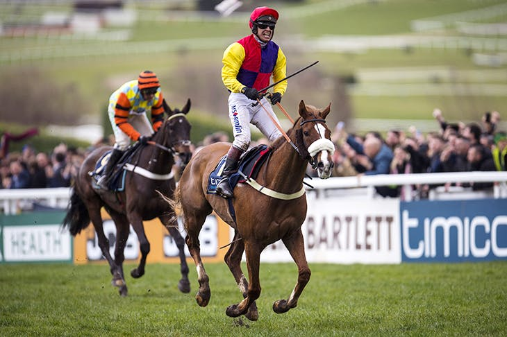 Richard Johnson riding Native River to victory in the Cheltenham Gold Cup. Credit: Photo by Justin Setterfield/Getty Images