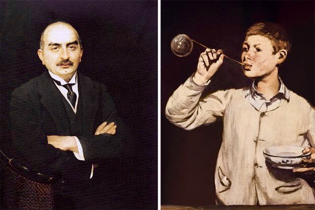 Left: Calouste Gulbenkian. Centre: 'The Break-up of the Ice' by Claude Monet. Right: 'Boy Blowing Bubbles' by Edouard Manet, from the Calouste Gulbenkian Museum, Lisbon