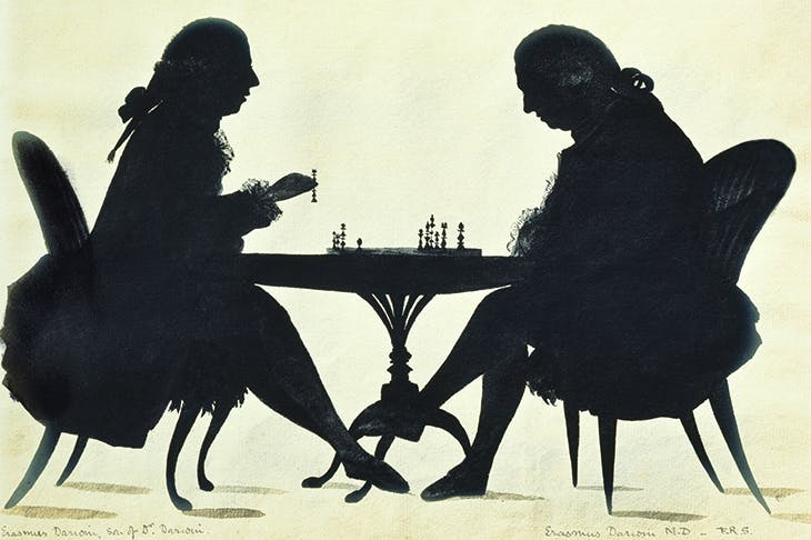Dr Erasmus Darwin playing chess with his son, c.1780