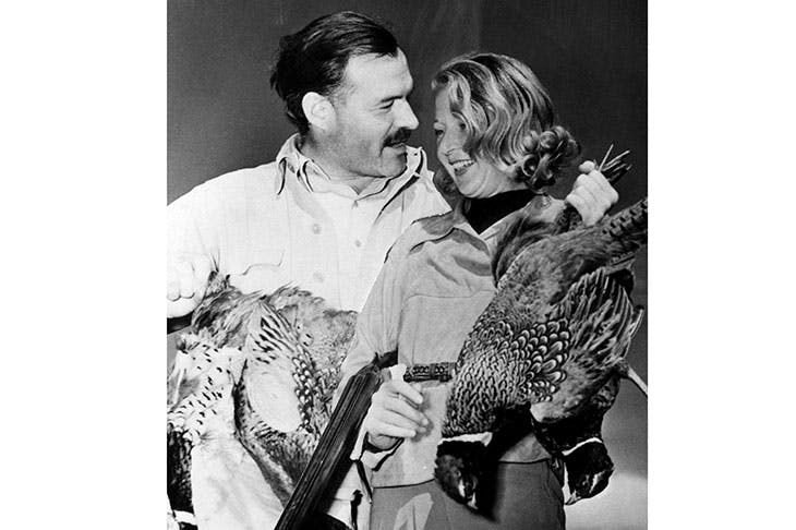 Hemingway with Martha Gellhorn on a shooting expedition, c.1940