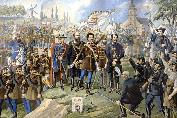 'Arise Hungarians, your country calls you!' The poet Sandor Petofi declaims the famous 'Talpra Magyar' on 15 March 1848. Lajos Kossuth stands to the right