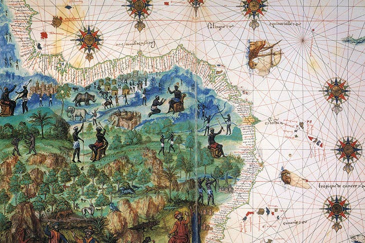 Map of West Africa, c.1547, depicting the trading fortress of São Jorge da Mina on the African Gold Coast.