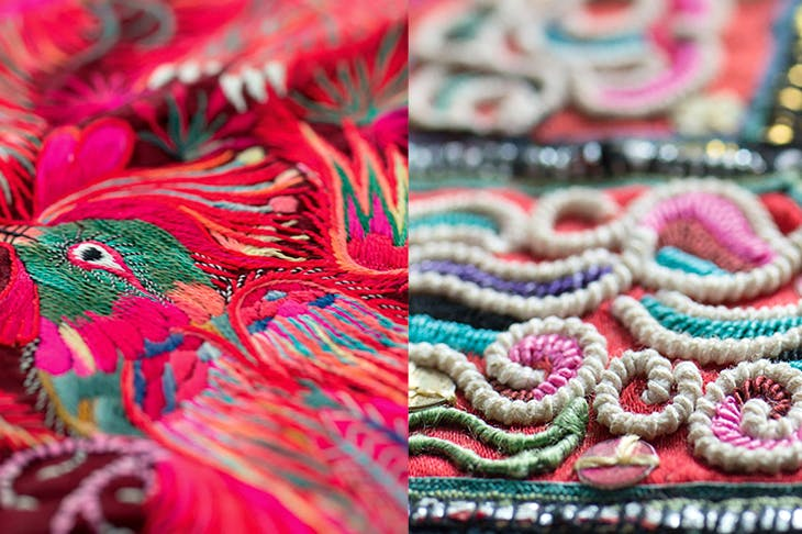 Detail of Miao embroidery from south-west China. Motifs, inspired by ancient Miao songs and legends, are handed down from generation to generation