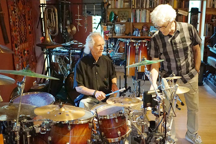 Doors drummer John Densmore and Police percussionist Stewart Copeland. Photo: BBC / Somethin' Else Sound Directions Ltd / Nico Wasserman