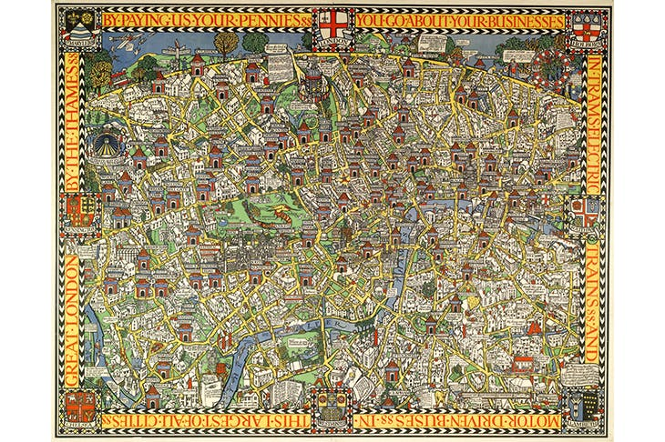 'Wonderground Map of London Town', 1914, by Max Gill