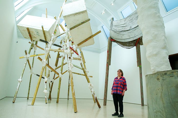 Careful, Phyllida: the artist posing by her rickety sculptural wonderland at the RACareful, Phyllida: the artist posing by her rickety sculptural wonderland at the RA