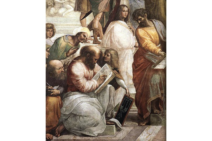 Detail of Raphael's 'The School of Athens', with Pythagoras in the foreground. Hypatia, the first great female mathematician, is in white, beside a figure thought to be Parmenides