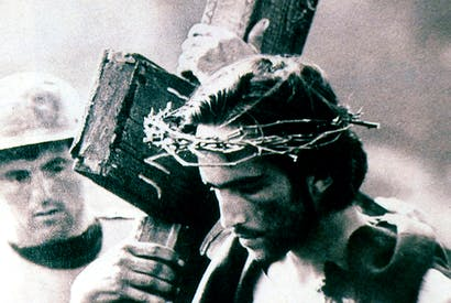 The road to Calvary: Enrique Irazoqui as Christ in Pier Paolo Pasolini's 1964 film The Gospel According to Matthew