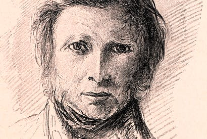 Portrait of Ruskin dated 1870