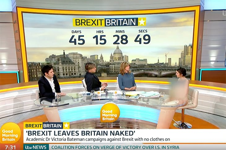 Richard Madeley and co-presenter Kate Garraway interview a naked Dr Victoria Bateman on Good Morning Britain