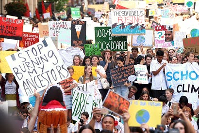 School children gather in Sydney last November to demand the government takes action on climate change [MARK METCALFE/GETTY IMAGES]