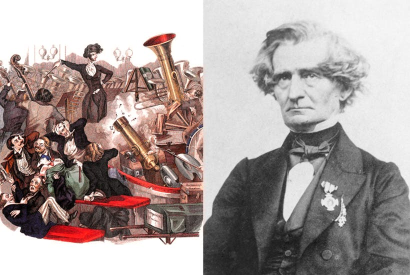 Left: cartoon of Hector Berlioz published in the Wiener Theaterzeitung in 1846. Right: the composer in 1863, aged 59