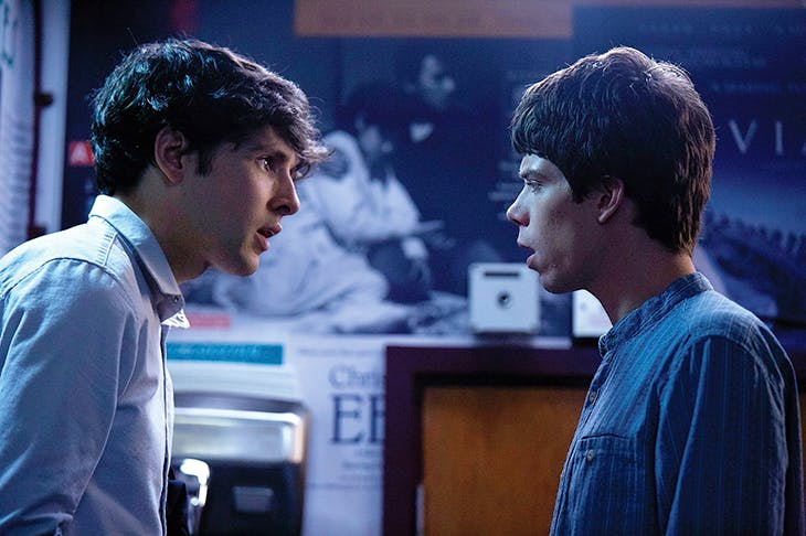 Colin Morgan as Benjamin and Phénix Brossard as Noah in Simon Amstell's Benjamin