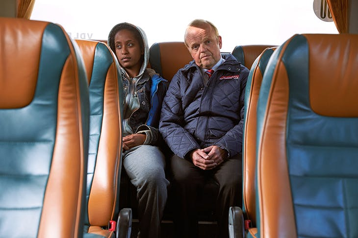 All the world's a stage: Luwam Teklizgi (Rita) and Toby Jones (Peter) in BBC2's forthcoming Don't Forget the Driver