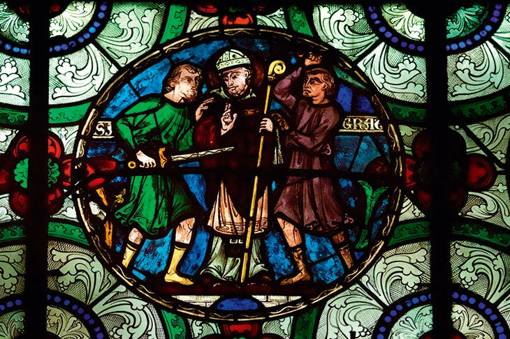 The murder of Thomas Becket in stained glass at Canterbury cathedral. Next year sees the 800th anniversary of the creation of Becket's shrine and the revival of the old pilgrimage route from Southampton to Canterbury