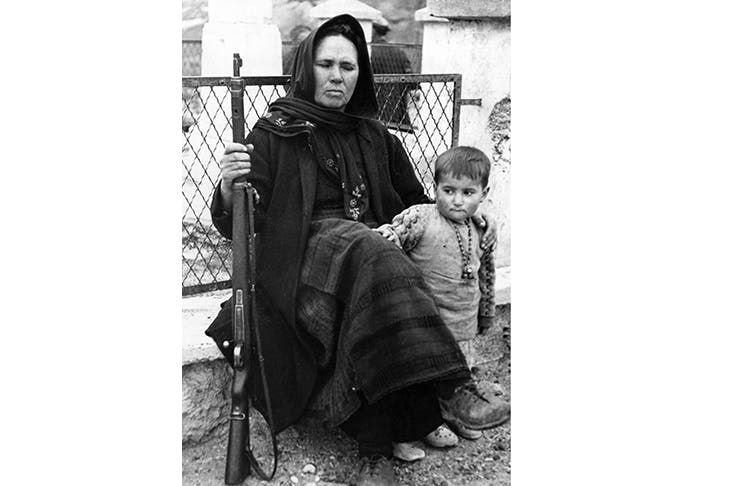 A soldier's widow and child in Greece c. 1950