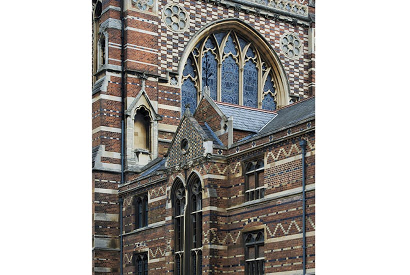 Keble College chapel, Oxford, designed by William Butterfield, whose churches were an intentionally ugly rebuke to oppressive Georgian architecture