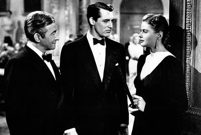 Proper adult entertainment: Claude Rains, Cary Grant and Ingrid Bergman in Hitchcock's Notorious (1946), with taut dialogue by Ben Hecht