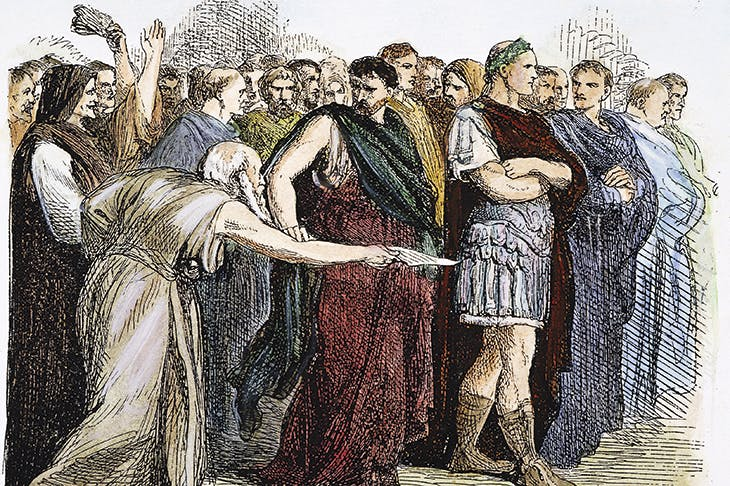 Brutus's betrayal is a tragic inevitability. The soothsayer warns Julius Caesar to 'Beware the Ides of March', in a 19th-century wood engraving by Sir John Gilbert