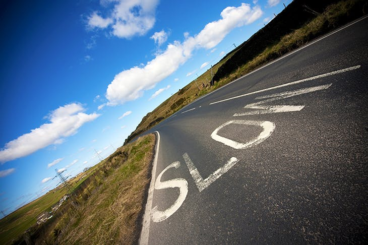 Slow road marking on a country road