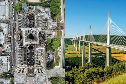 Notre Dame from above (image: Lana Sator) and, right, Michel Virlogeux and Norman Foster's Millau Viaduct (image: Bernard Jaubert / Imagebroker / Rex / Shutterstock)