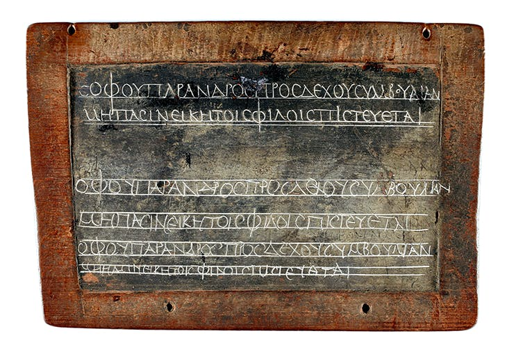 It's all Greek to me: a schoolchild's homework on a wax tablet, Egypt, 2nd century AD
