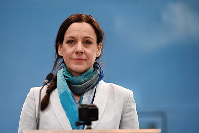 Annunziata Rees-Mogg at the launch of the Brexit party's European election campaign in Cov-entry (Getty)