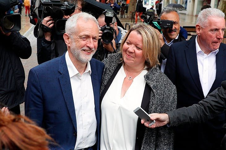 Jeremy Corbyn with new MP Lisa Forbes after her victory in the Peterborough by-election (Getty)