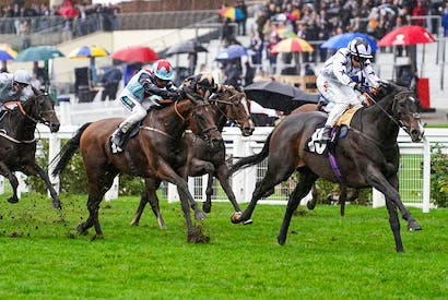 Rising star Nicola Currie riding Raising Sand to victory at Ascot Credit: Alan Crowhurst / Stringer / Getty Images