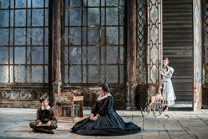 Leo Jemison (Miles), Elen Willmer (Flora) and Sophie Bevan (Governess) in The Turn of the Screw at Garsington Opera