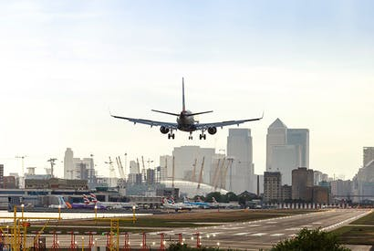 Top flight: A plane lands at London City Airport