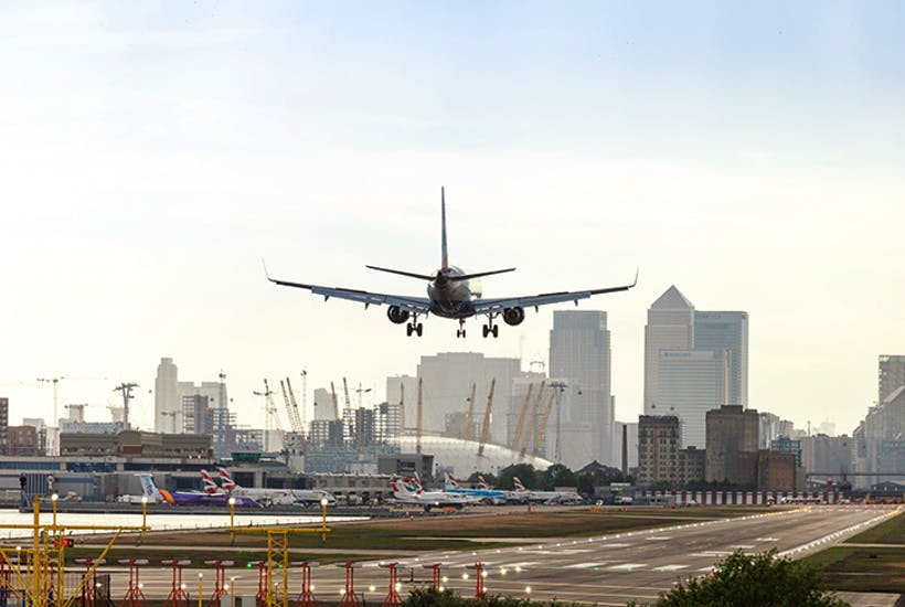 Top flight: A plane lands at London City Airport