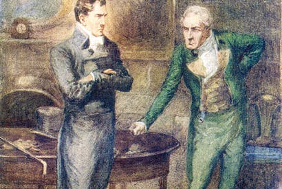 Henry Tilney, a younger son and beneficed clergyman, defies his father in a scene from Jane Austen's Northanger Abbey