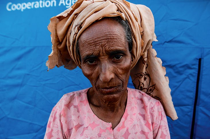 A Rohingya woman in an IDP camp in 2012