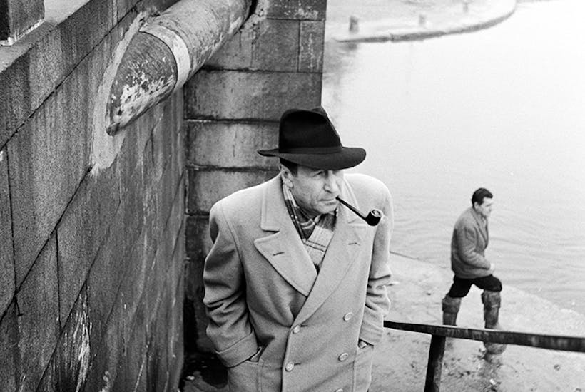 Georges Simenon, photographed in the Navigli district of Milan in the 1950s