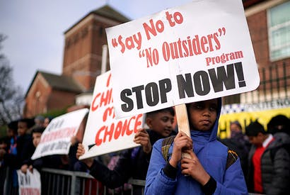 Parents and children demonstrate against the No Outsiders programme at Parkfield School in Birmingham in March [Photo: Getty]