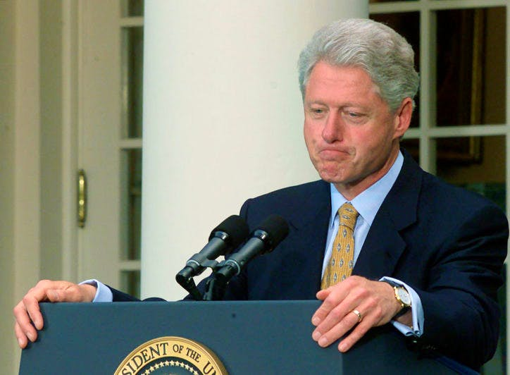 President Bill Clinton speaks in the Rose Garden, May 24, 2000 in Washington, D.C. after the China trade vote in Congress.